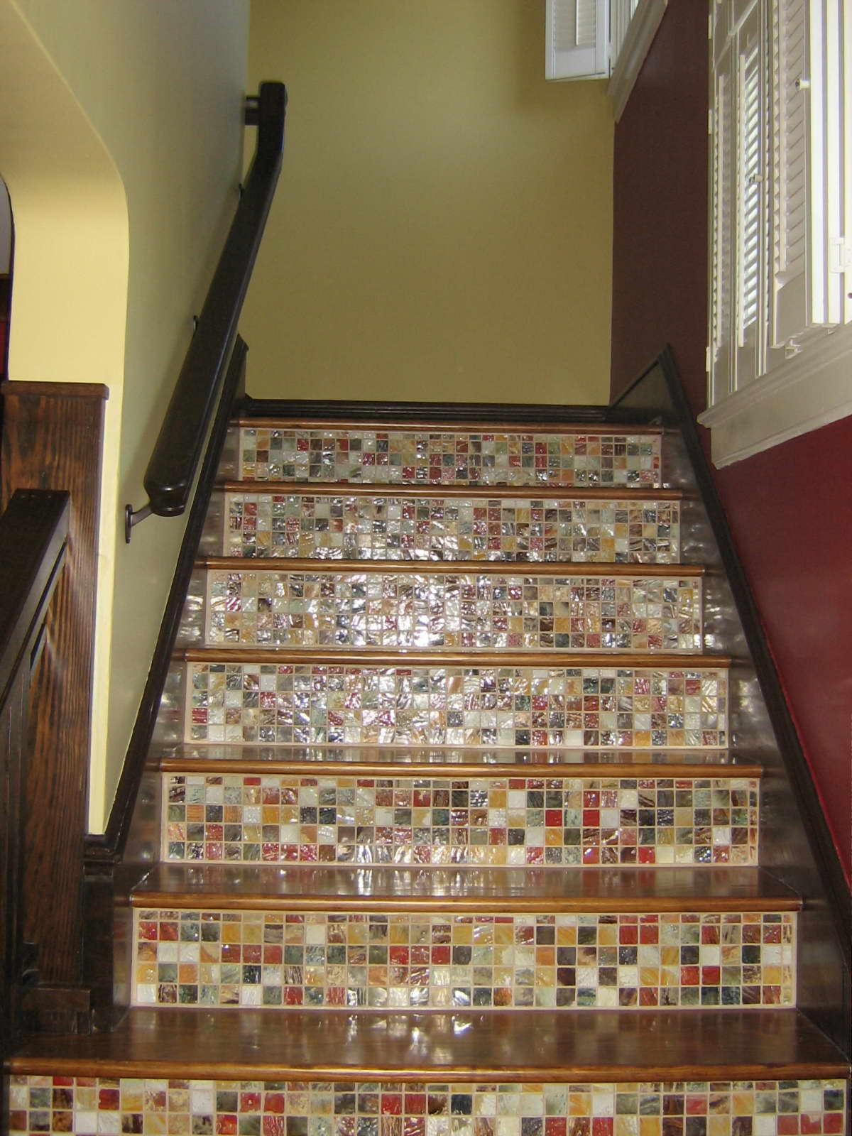 Apple wood construction stair ideas - Stairs with tile and wood ...