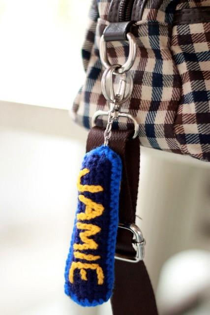 crochet nametag keychain