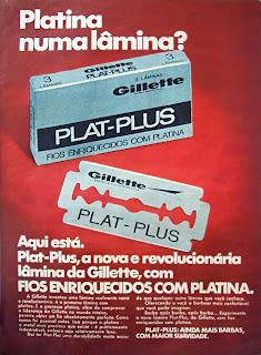 propaganda lâmina de barbear Gillette - 1970, história da década de 70; Brasil nos anos 70; Brazil in the 70s. Oswaldo Hernandez.