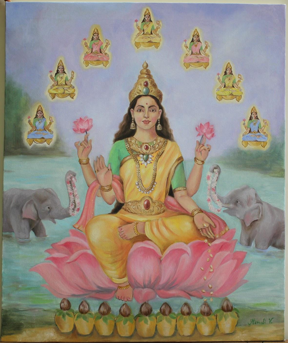 Image result for goddess lakshmi paintings