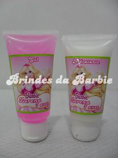 Barbie e as Três Mosqueteiras, Brindes da Barbie, Shampoo, Condicionador, Sabonete Líquido, Gel, Creme Hidratante.