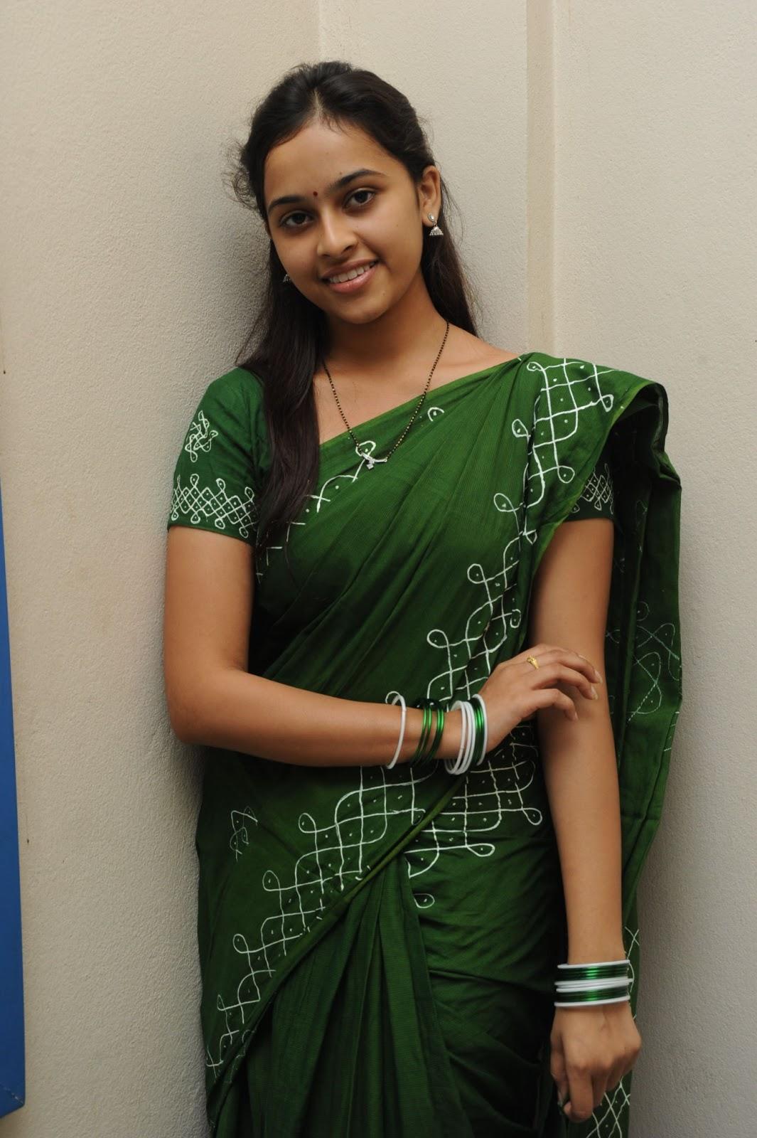 Beautiful Sri divya in green saree at mallela theeram lo sirimalle puvvu press meet