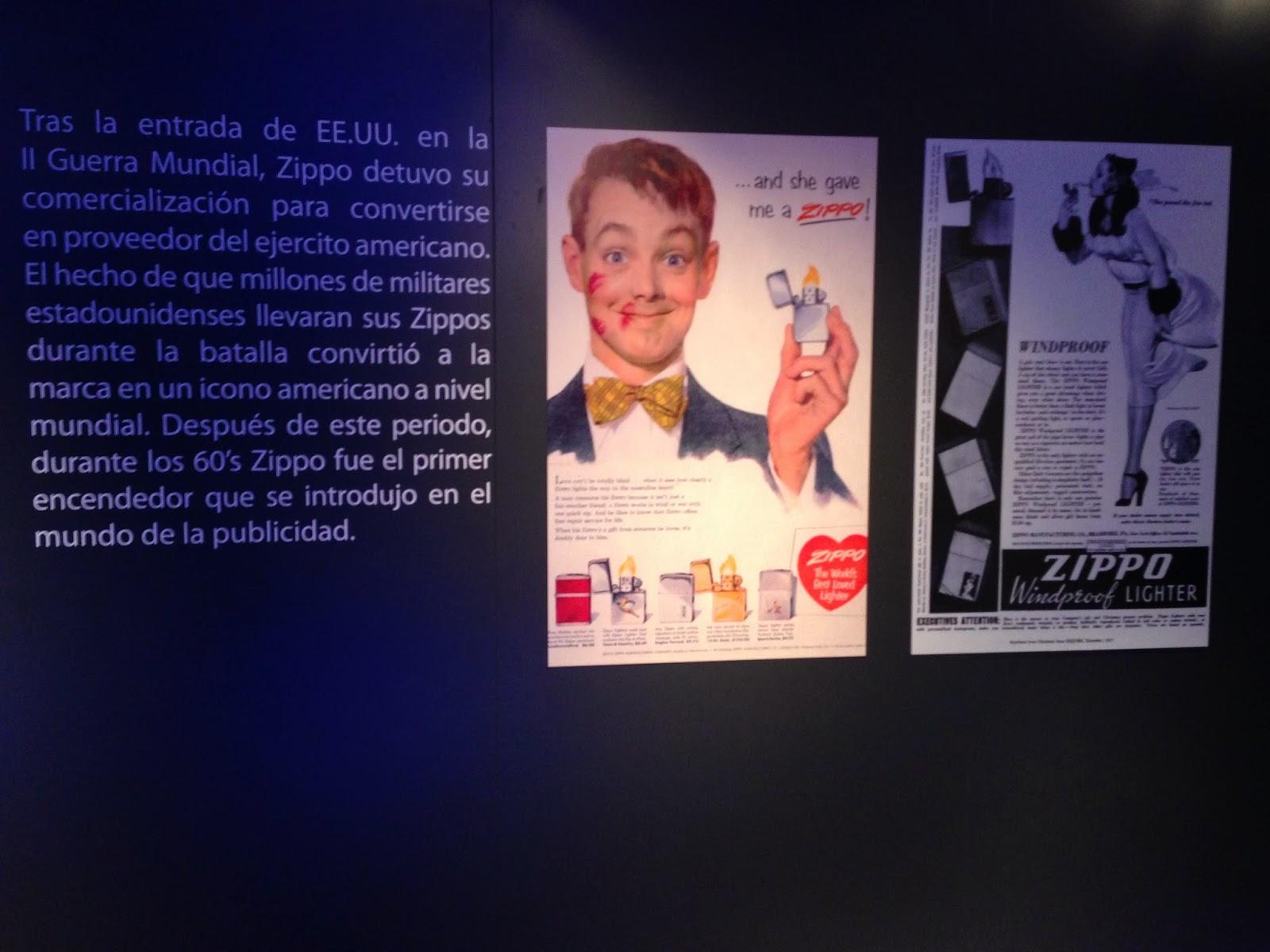 Parte de la muestra con la historia de Zippo en su presentación en España