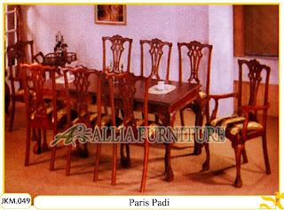 Kursi dan Meja Makan Ukiran Kayu Jati Paris Padi