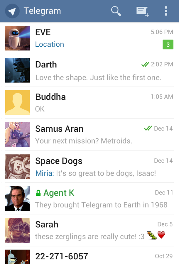 Home screen for Telegram
