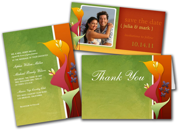 Floral Wedding Invitations Tangerine Lime Lily