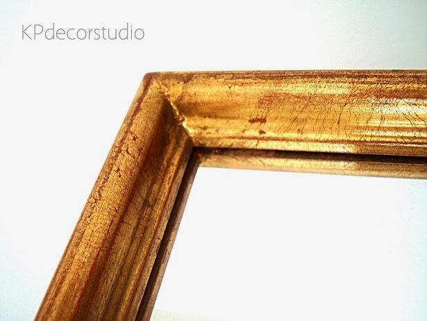 Espejos de madera vintage con acabado de pan de oro vintage rectos
