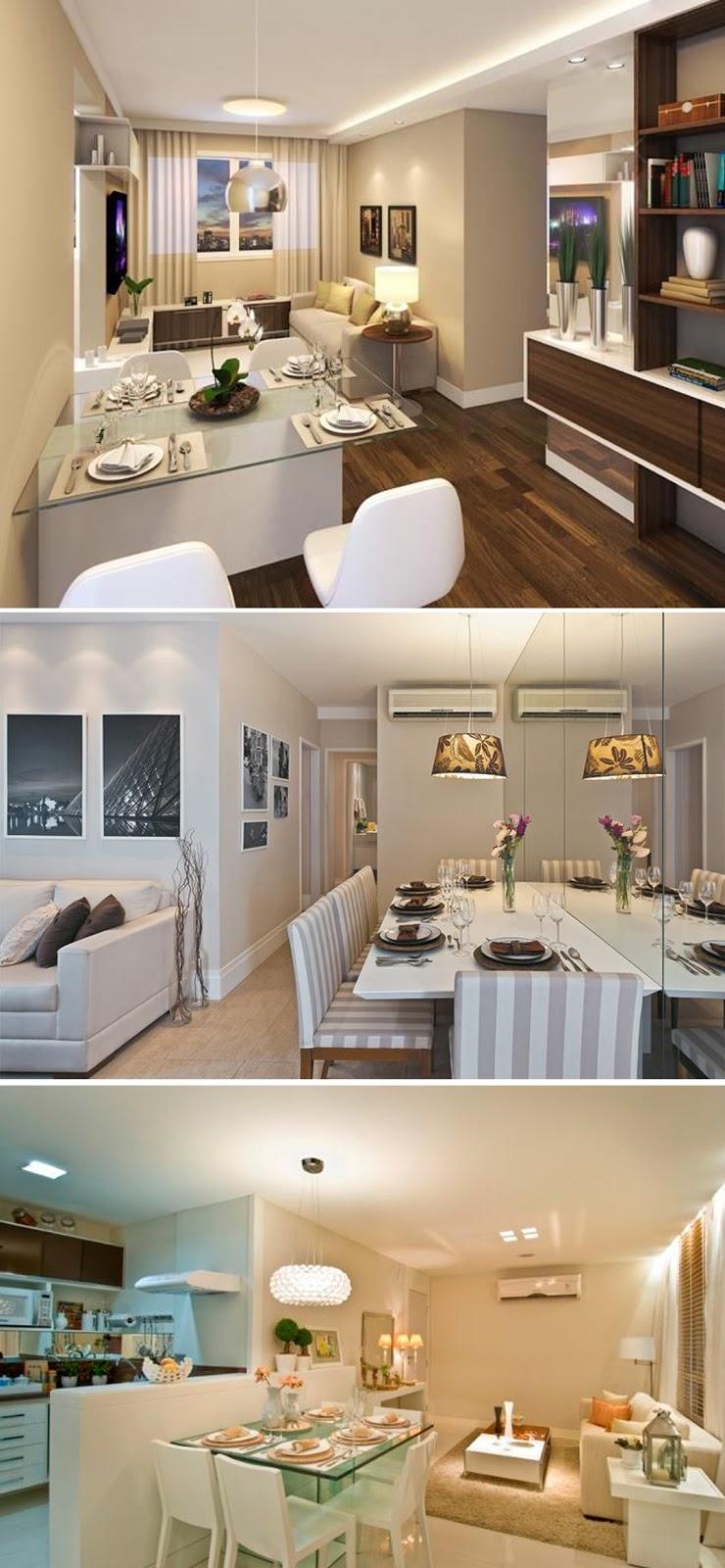 decoração sala de jantar de apartamento