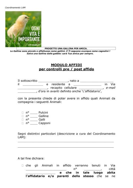Modulo adozioni per Pulcini, Galli e Galline. A cura del Coordinamento LAM