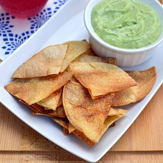 Homemade Tortilla Chips with Creamy Avocado Dip