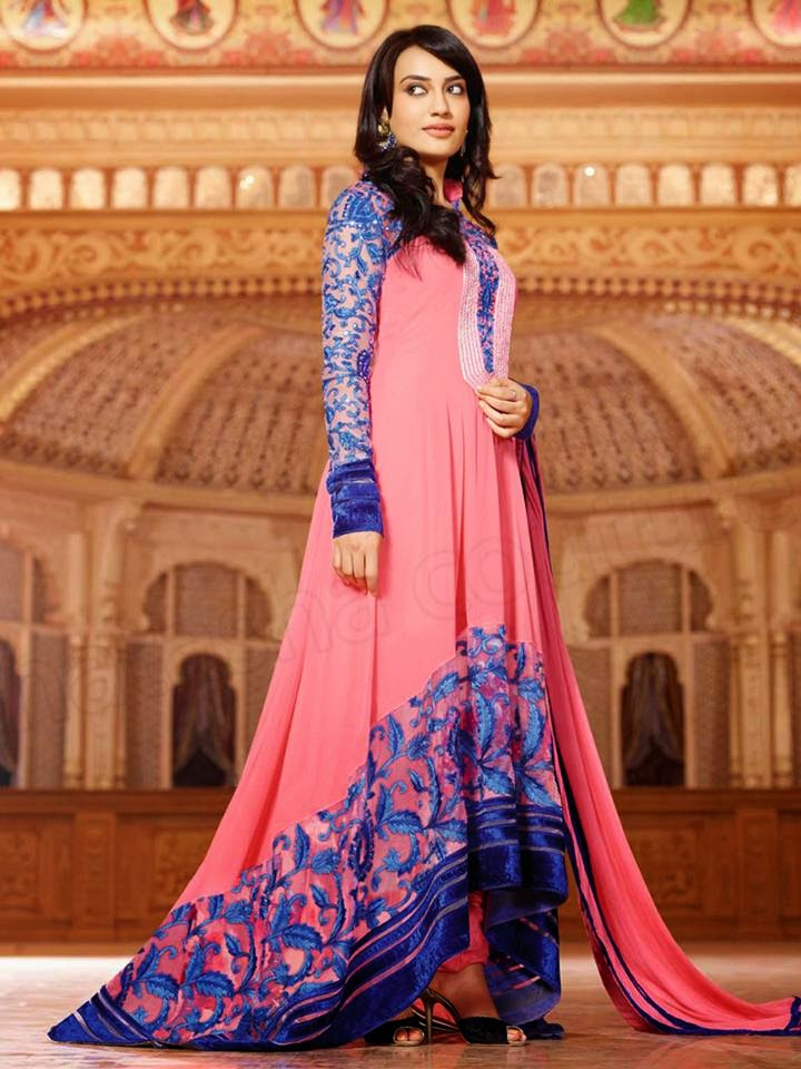 PINK SEMI GEORGETTE ANARKALI