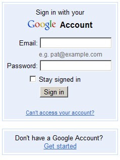 google login interface