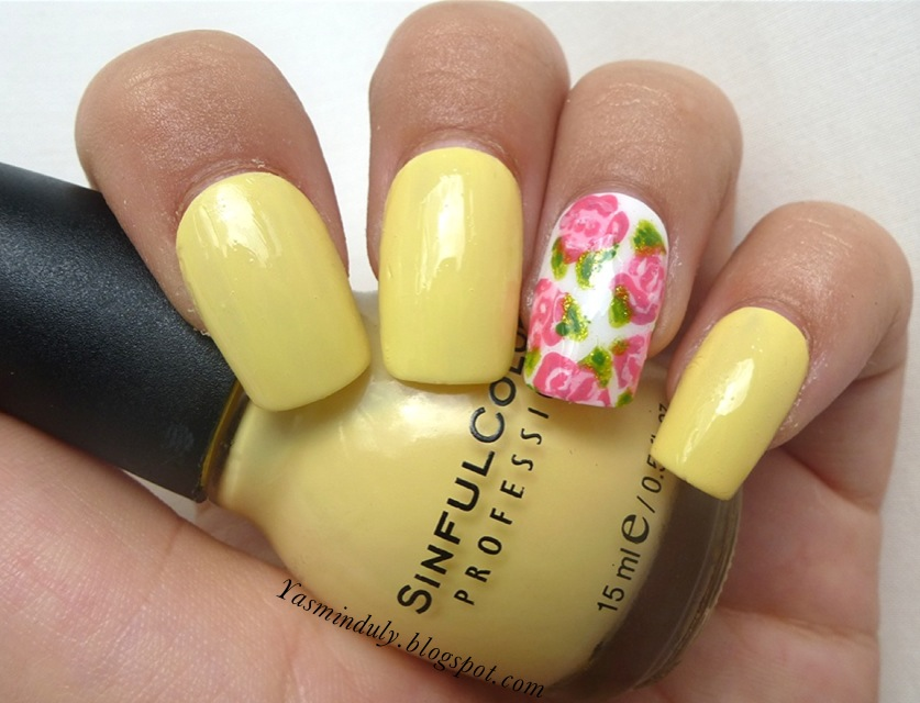 Yellow With Rose Accent Nails