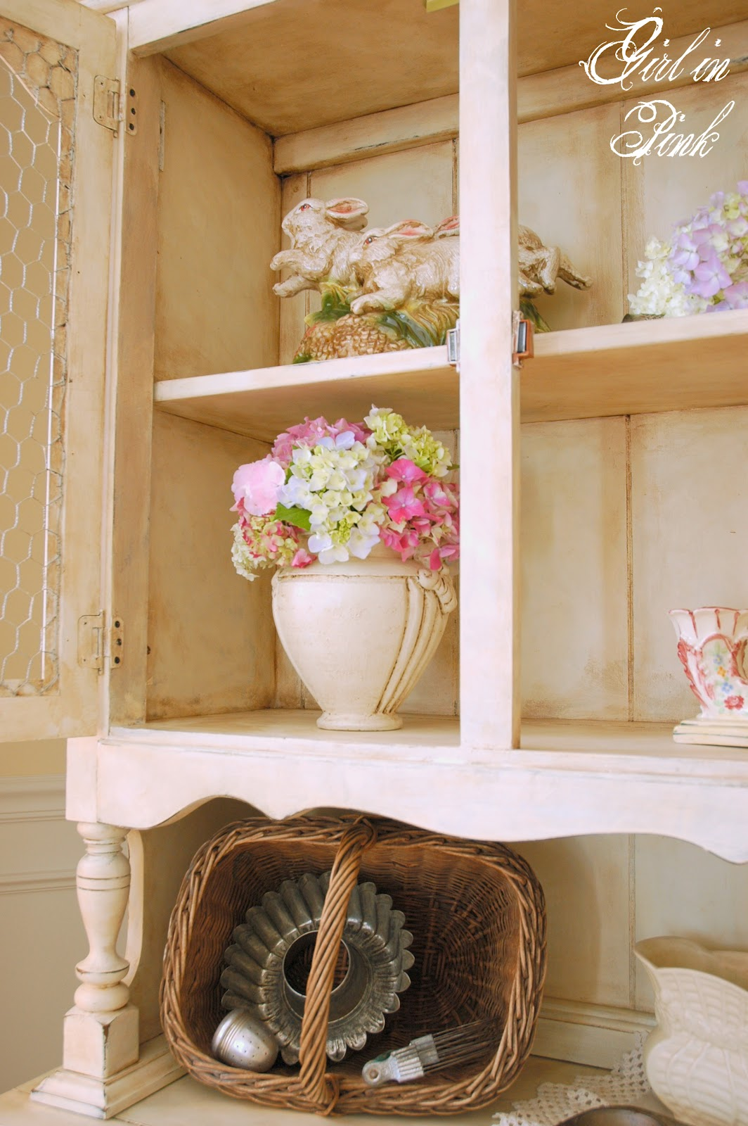 in pink french country cottage cupboard