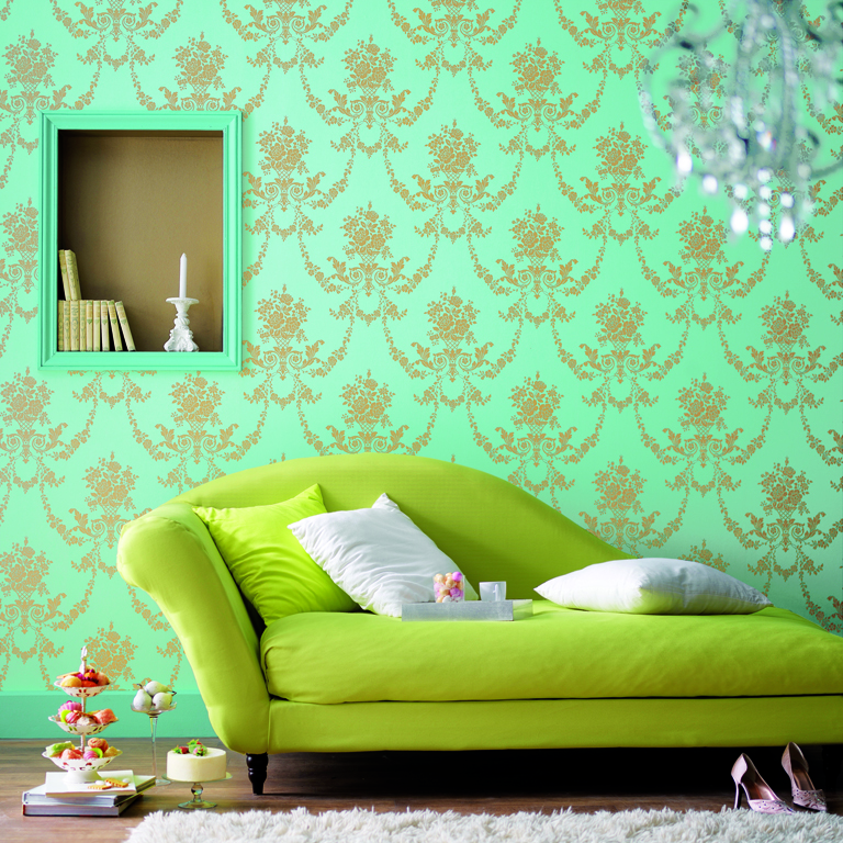 Bright Green Damask Wallpaper (10 Image)