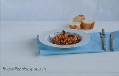 Lentejas con chorizo y arroz