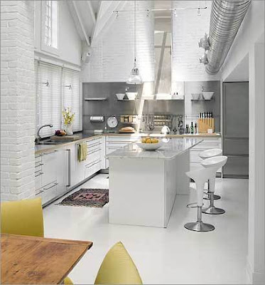 contemporary white kitchen design with marble countertops