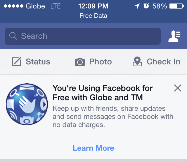 Globe Free Facebook offer