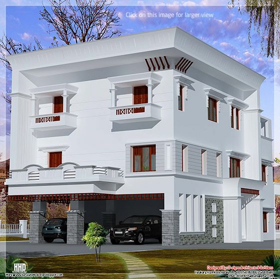 3 floor flat roof home design