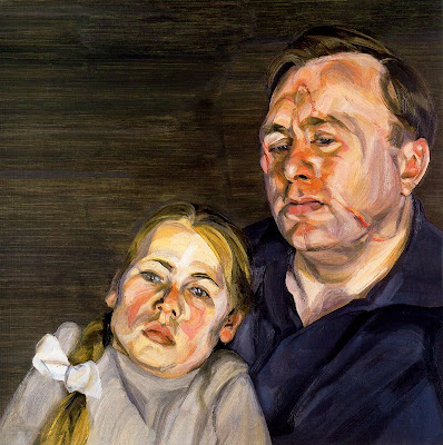 A man and his daughter, by, portrait painter, Lucian Freud,oil paintings. great modern artists