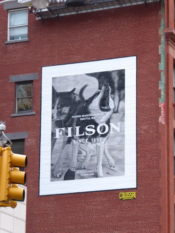 Filson outdoor clothing dog billboard