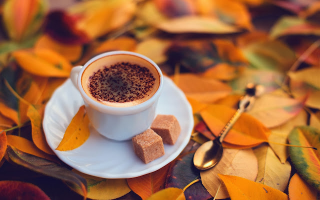 Coffee With Yellow Autumn Leaves