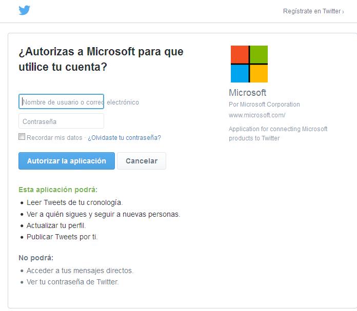 Paso 5 Conectar Twitter con Outlook.com