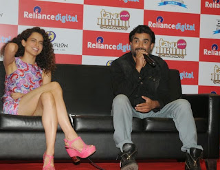 Kangana Ranaut in a Micro Mini Short Dress at tanu Weds Manu Returns Promotion at Reliance Digital Store Mumbai