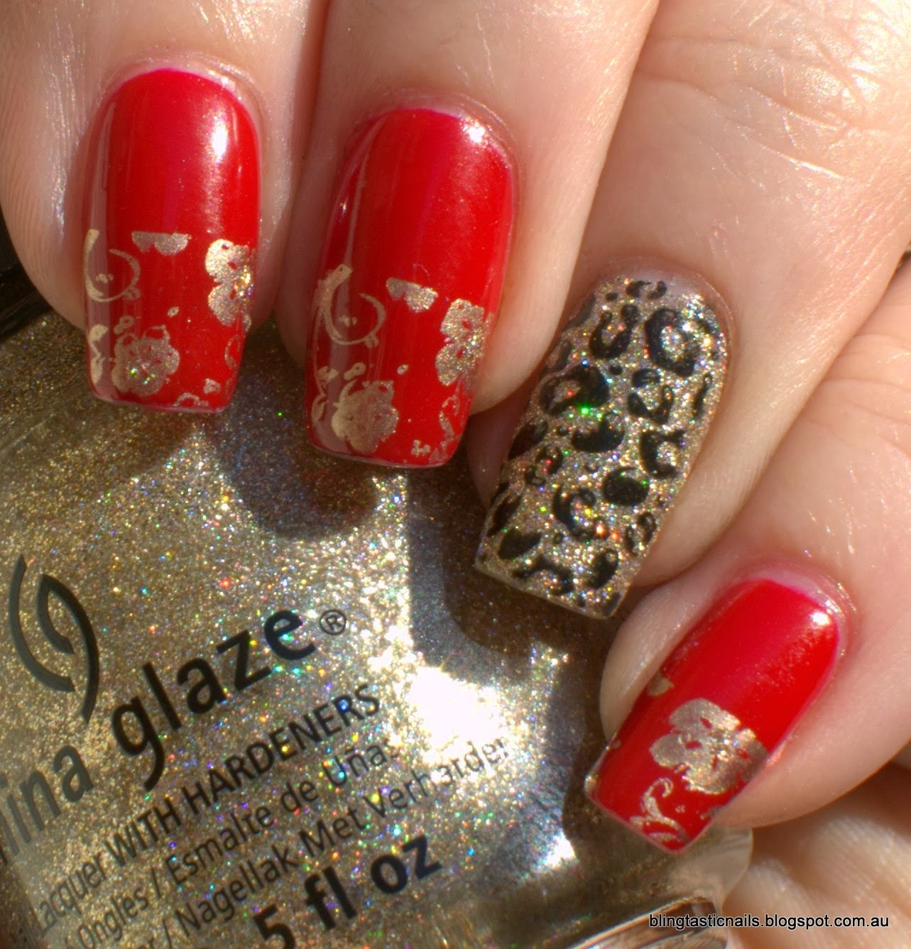 China Glaze I'm Not a Lion with Essence Fame Fatale and stamping