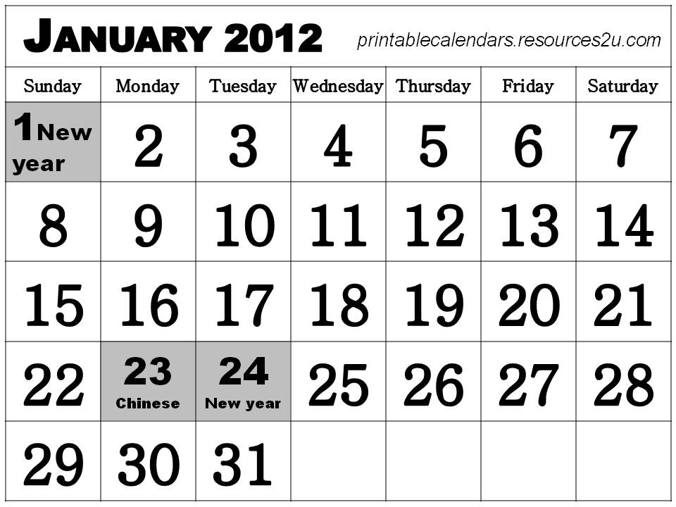 Free Homemade Calendars 2011 and 2012: January 2012 Calendar with ...