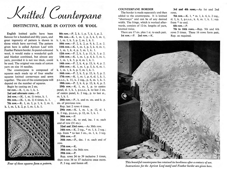 Leaf Bedspread Knitting Pattern : The Butterfly Balcony: Knit It - 1940s Knitted Counterpane