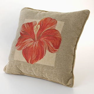 hibiscus tropical pillow
