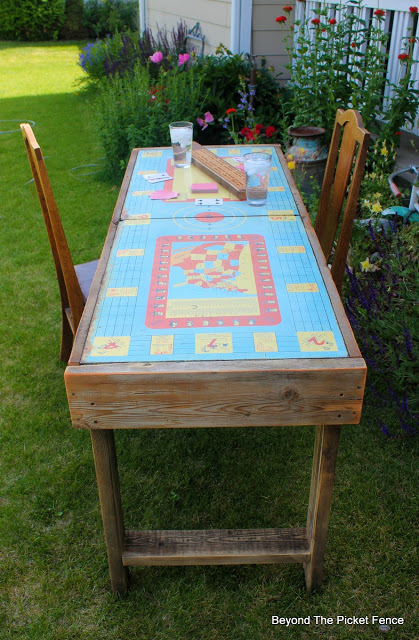 vintage, game table, reclaimed wood, metal, industrial, build it, http://bec4-beyondthepicketfence.blogspot.com/2015/12/these-are-few-of-my-favorite-things.html