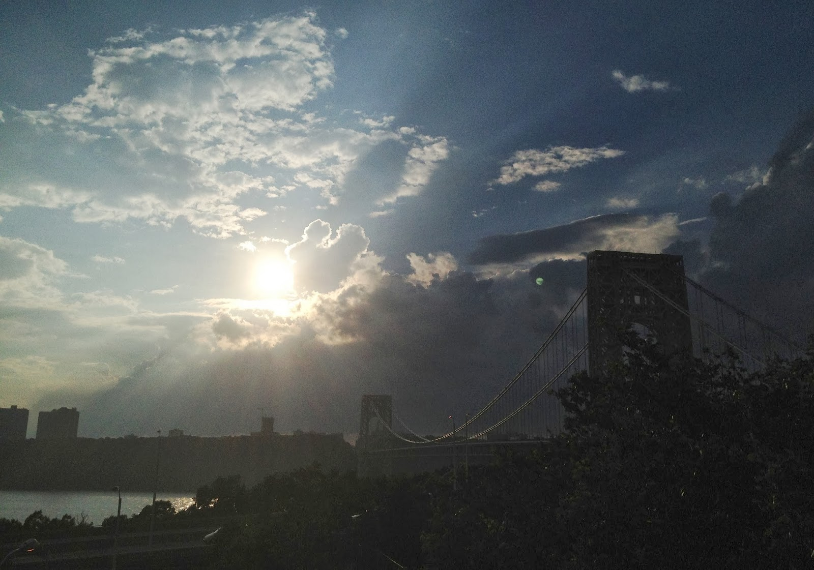 new york city, nyc, george washington bridge, gw bridge, hudson river, beautiful clouds