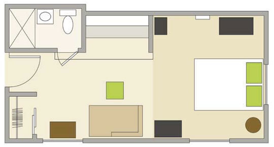 Foundation dezin decor basic plan layout 39 s for Studio apartment floor plans furniture layout