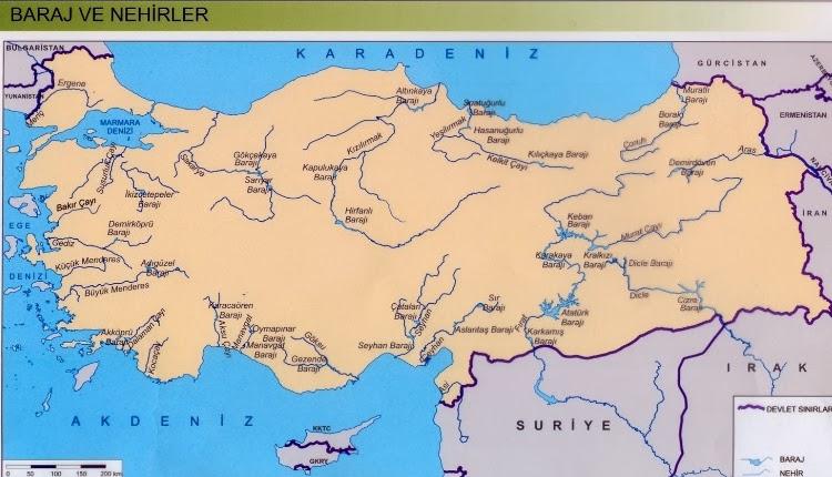 Türkiye baraj ve nehirler haritası