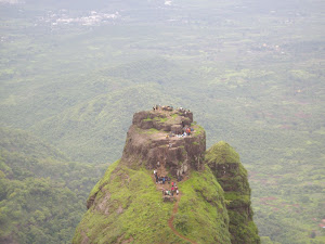 Kalavartin Durg Pinnacle as seen from Prabalgad Fort peak.