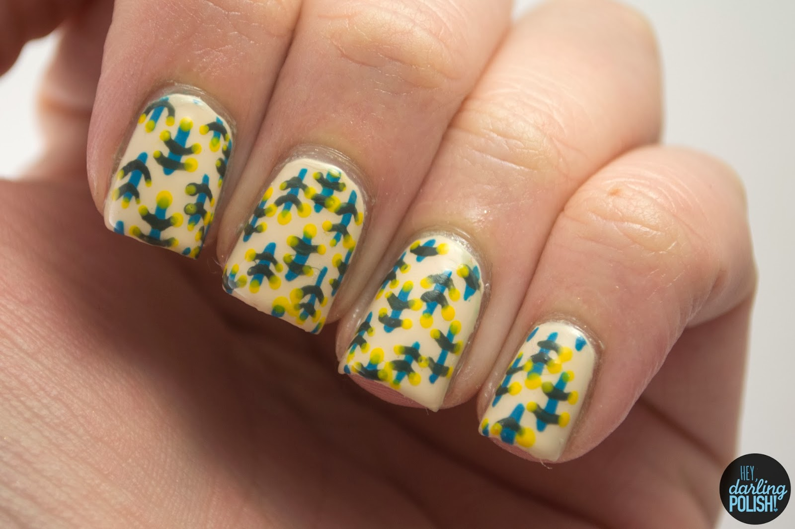 nails, nail art, nail polish, polish, pattern, retro, hey darling polish