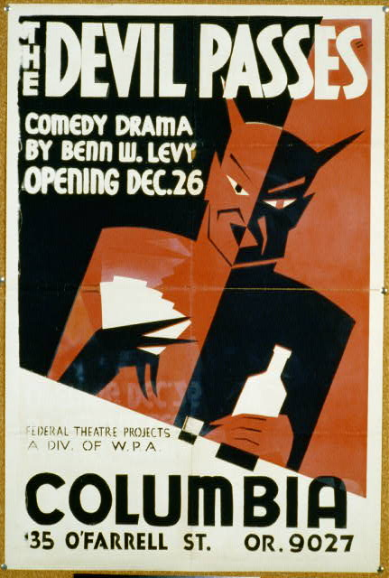 The Devil Passes, Comedy Drama by Benn W. Levy - Vintage Theater Poster, theater, movies, classic posters, federal theater, free download, graphic design, retro prints, vintage, vintage posters,
