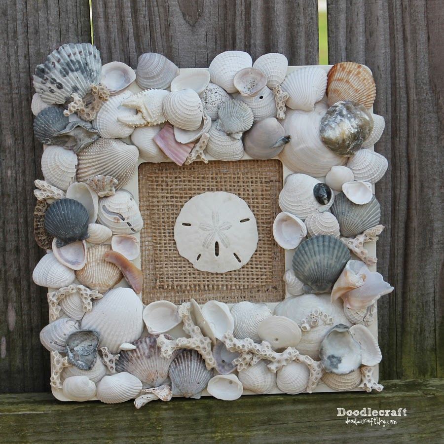 Doodlecraft seashell memory frame keepsake for Best glue for crafts