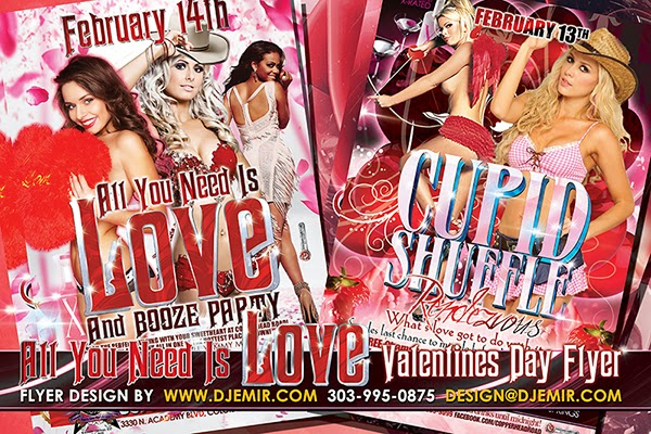 All You Need Is Love and Cupid Shuffle Rendezvous Valentine's Day Flyer Designs Colorado Springs CO.