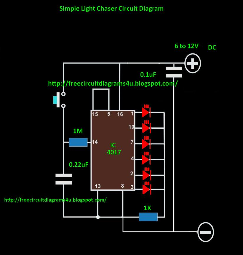 FREE CIRCUIT DIAGRAMS 4U: LED Light Chaser Circuit Diagram