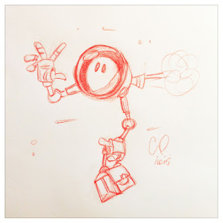 Red pencil sketch of cute little robot flying to work - Illustration by Cesare Asaro - Curio & Co. (Curio and Co. OG - www.curioandco.com)