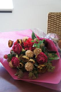 セール花束(シルクフラワー・造花)モーブピンク系