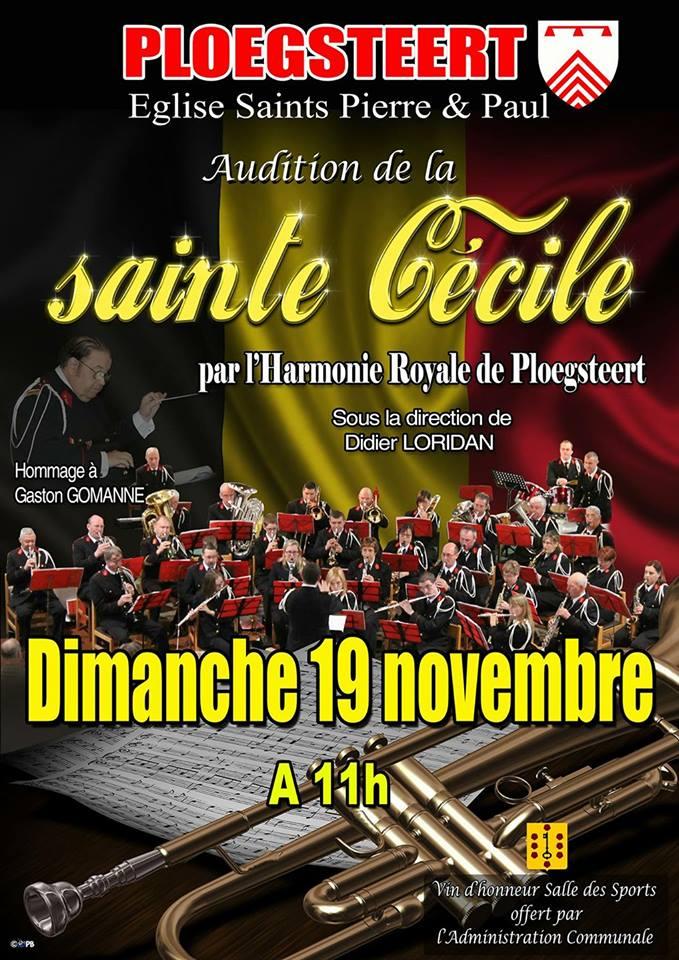 19 novembre Sainte Cécile de l'Harmonie Royale de Ploegsteert