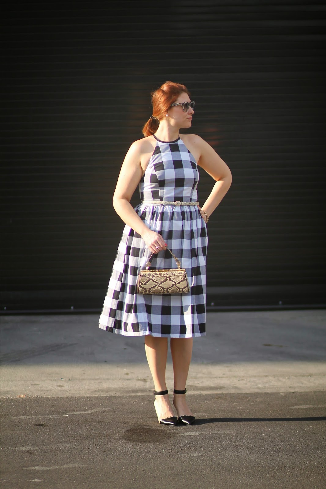 asos, midi, dress, gingham
