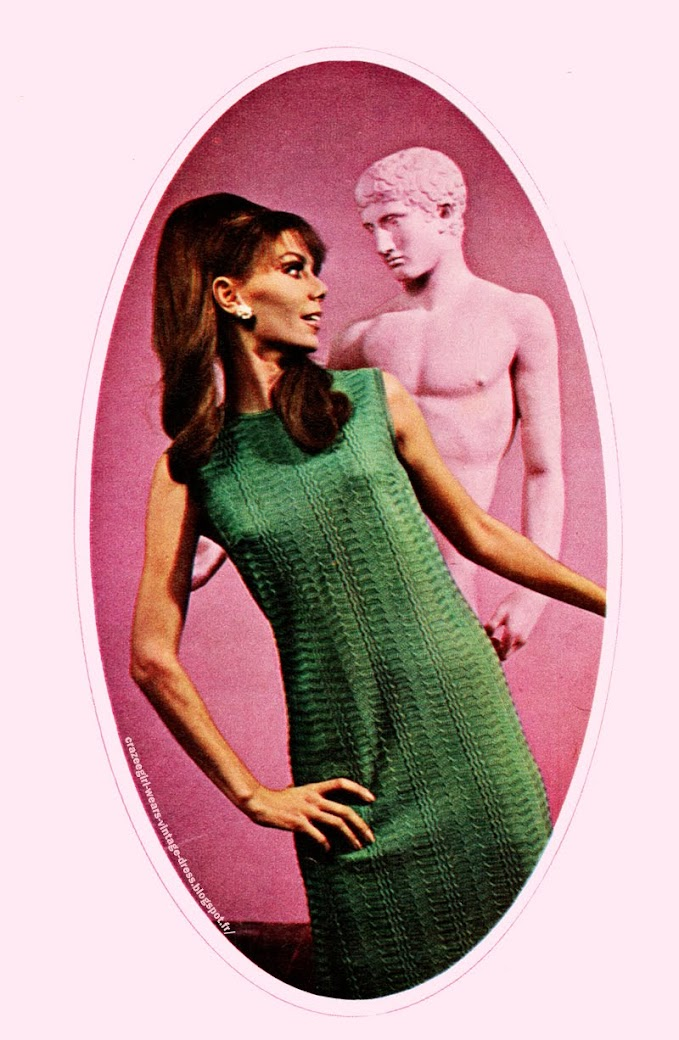 Pierany dress green knit dress 1967 60s 1960