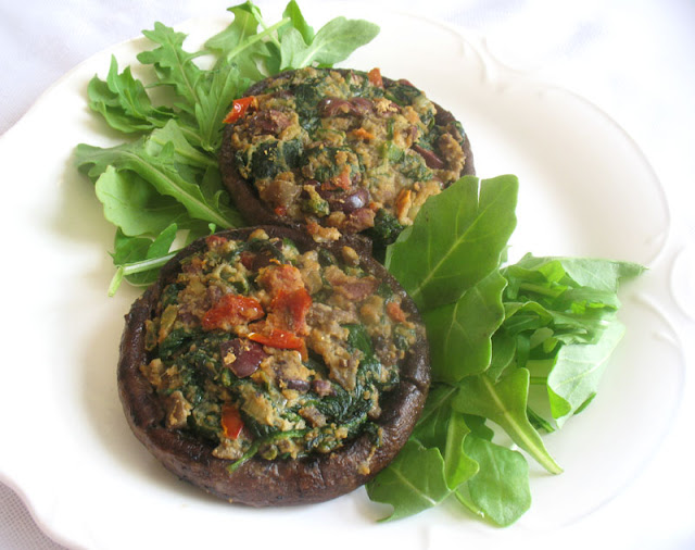 Portobellos Stuffed with Spinach and Sun-Dried Tomatoes