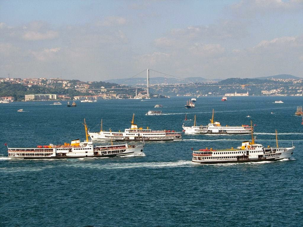 Passenger boats on the Bosphorus