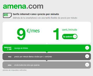 Nueva tarifa de amena.com internet ilimitado, sms gratis y llamadas a 1 céntimo el minuto.